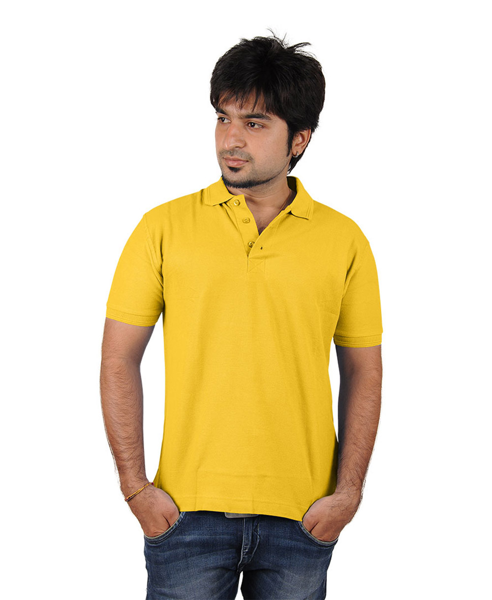 Softwear mens yellow collared t shirt for Mens collared t shirts
