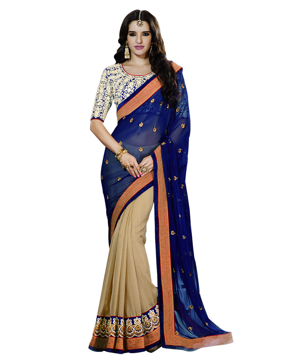 Zoom Designer Blouse Pattern Lace Royal Blue Saree: E2kart.com
