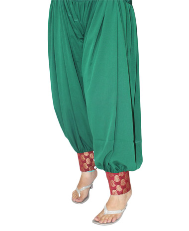Punjabi style Green Semi Patiala Salwar With Red Brocade Border
