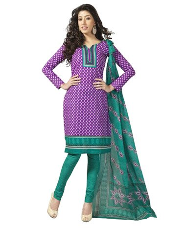 Violet Printed Unswitched Salwar Cotton Material