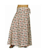 Cream-Black Hand Block Designer Stylish Wrap Skirt 297