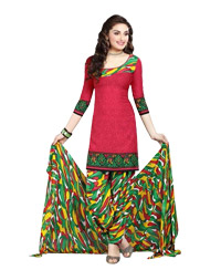 Crimson  Printed Unswitched cotton Salwar Material