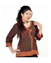 Designer Hand Block Print Black Cotton Top