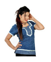 Designer Silver Block Print Blue Cotton Top