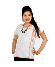 Designer Silver Butie Fancy White Cotton Kurti
