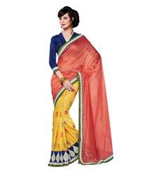 Dlines enterprises orange And Yellow Foil Printed Saree