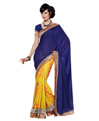 Dlines Enterprises Royal Blue And Yellow Bandhej Saree