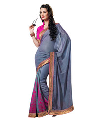 Dlines Enterprises Grey Velvet Printed Saree
