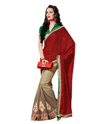 Dlines Enterprises Maroon and Gold Bordered Sarees