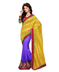 Dlines Enterprises  Multi colour checkered bordered saree
