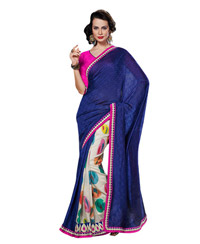 Dlines Enterprises Multicolor Printed And Blue Saree