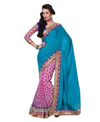 Dlines Enterprises Blue And Pink Velvet Print Saree