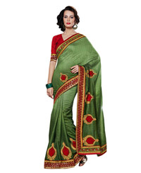 Dlines Enterprises Green Embroidered Saree