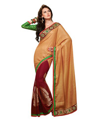 Dlines Enterprises Maroon & Gold Woven Motif Bordered Saree