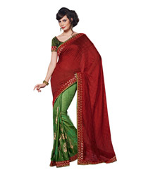 Dlines Enterprises Maroon And Printed Border Saree