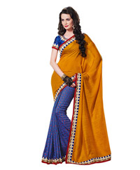 Dlines Enterprises Yellow And Blue Butta Bordered Saree