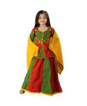 Ethnic Designer Red Green Girls Lehanga Kurti
