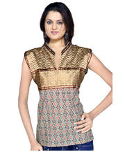 Ethnic Girls Resham Zari Work Brown Cotton Top