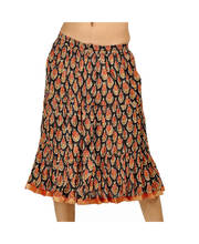 Ethnic Hand Block Black-Red Stylish Cotton Short Skirt 229