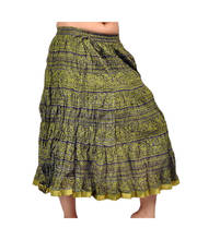 Ethnic Hand Block Mehandi Green Fashionable Cotton Skirt 238