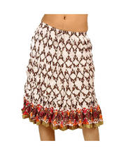 Ethnic Hand Block Print Off White Designer Cotton Short Skirt 249