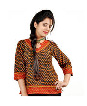 Ethnic Hand Block Print Red Black Cotton Top