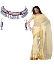 Ethnic Kota Doria Pure Cotton Fancy Saree (Elegant White Necklace Set Free)