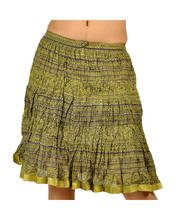 Ethnic Mehandhi Green Stylish Cool Stripes Short Skirt 240