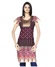 Exclusive Designer Brocade Black Cotton Kurti