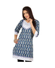 Exclusive Designer Brocade Blue Cotton Kurti