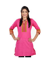 Exclusive Designer Printed Pink Cotton Kurti