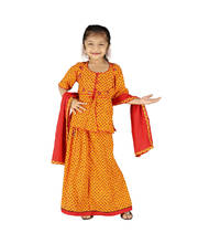 Girls Traditional Sanganeri Red Lehanga Kurti