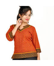 Hand Block Ethnic Design Red Black Cotton Top