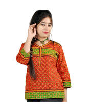 Hand Block Print Ethnic Red Black Cotton Top