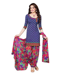 Indigo Printed Unswitched Salwar Cotton Material (Code 8004  )
