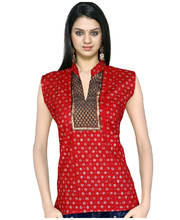 Jaipuri Brocade Silver Print Red Cotton Top