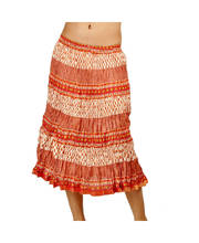 Jaipuri Designer Stripes Orange Booties Cotton Skirt 252
