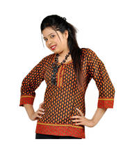 Jaipuri Print Designer Red Black Cotton Kurti
