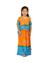 Jaipuri Sanganeri Orange -Blue Lehanga Choli