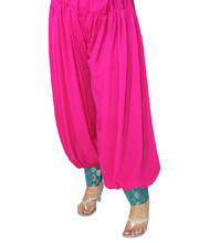 Punjabi style Pink Semi Patiala Salwar With Blue Brocade Border