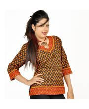 Rajasthani Block Print Red Black Cotton Top