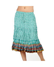 Rajasthani Ethnic Block Print Sea Blue Stylish Cotton Skirt 233