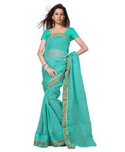 Rajasthani Kota Doria Aqua Green Cotton Saree and Blouse 134