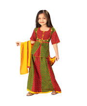 Rajasthani Red Green Booti Work Lehanga Kurti