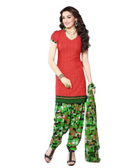 Red Printed Unswitched Cotton Salwar Material (Code 8002)