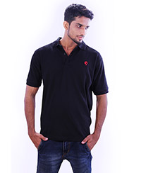 Rodeio Mens Black Collared T-Shirt