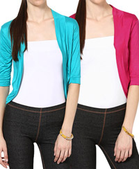 Softwear Fuchsia Pink-Turquoise Green Viscose Shrug Combo of 2