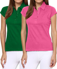 Softwear Green-Pink 7-Button Collared T-Shirt Pack of 2