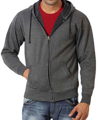 Softwear Mens Andhra Melange Plain Hoodies With Round Neck T-Shirt