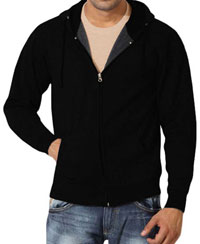 Softwear Mens Black Plain Hoodies With Round Neck T-Shirt